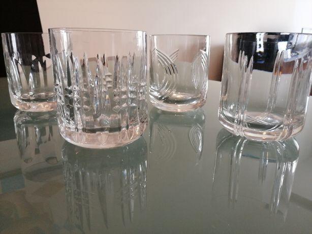 Copos cristal whisky conj de 4 diferentes
