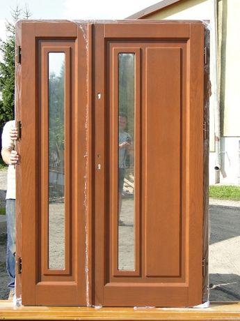 Drzwi drewniane SUROWE zewnetrzne dwuskrzydłowe OD RĘKI