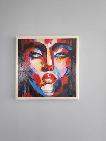 Картина абстракция живопись портрет девушка 50х50см