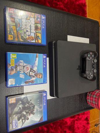 PS4 Slim 1TB + 1 comando + 3 Jogos