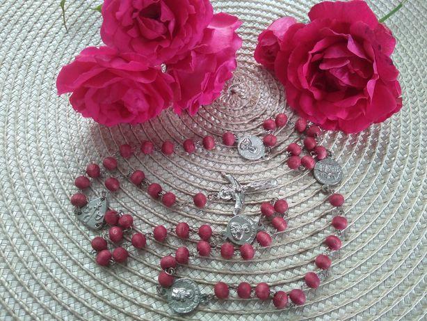 Różany różaniec stary piękny duże paciorki
