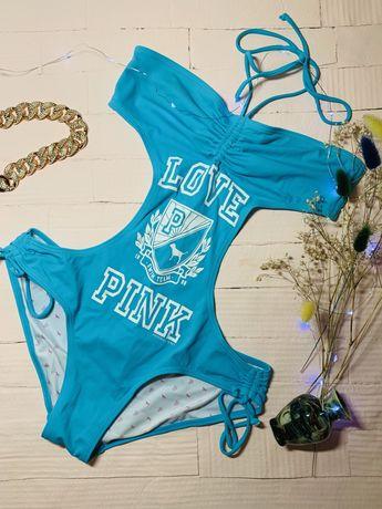 синий купальник Pink Victoria's Secret сдельный раздельный пинк S M