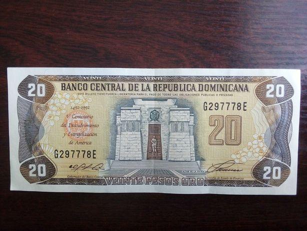 Banknot 20 pesos Dominikana 1992