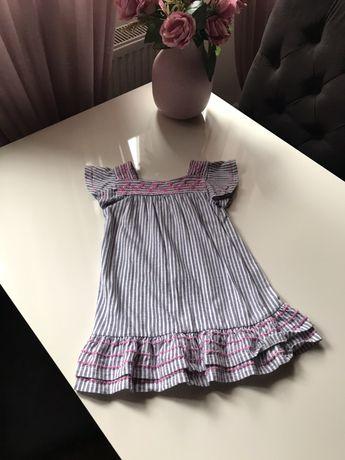 Sukienka, sukieneczka 110, w paski, haft, biała, różowa, niebieska
