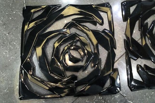 Ażurowe panele dekoracyjne czarne róże na witryny/okna/ściany. 72szt.