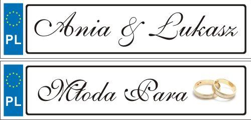 NOWE ślubne tablice rejestracyjne trwałe przód i tył --> Ania & Łukasz