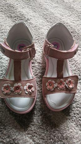 Sandały skórzane Lasocki różowe mieniące kwiatuszki rozmiar 26