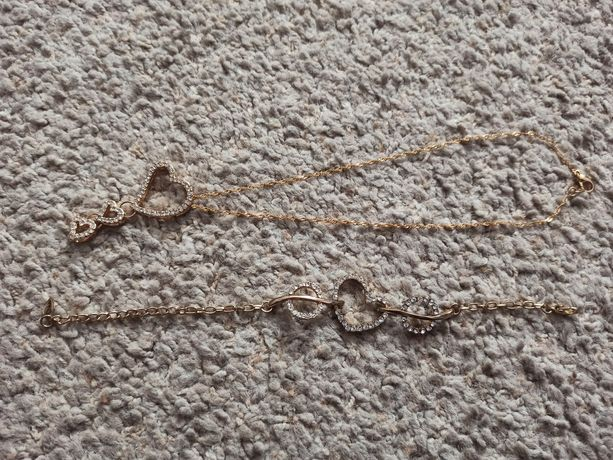 Pozłacany zestaw: naszyjnik+bransoletka z sercami