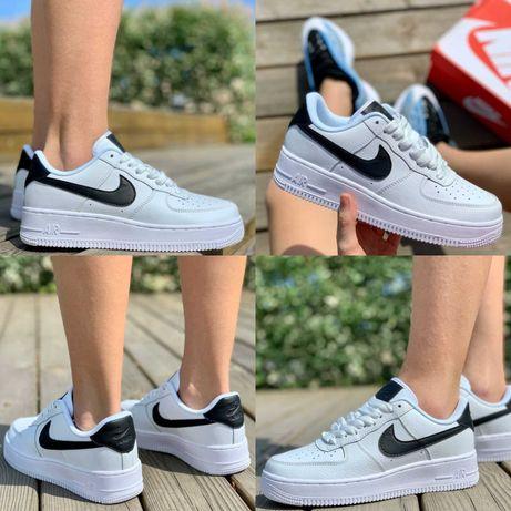 Женские кроссовки Nike Air Force 1 White Black Logo 36-40 Хит Осени