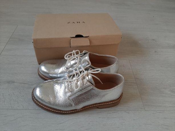 Zara - buty ze skóry - srebrne 34 rozmiar
