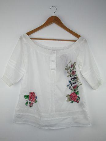Biała bluzka Guess hiszpanka bawełniana guziczki kwiaty XS/S
