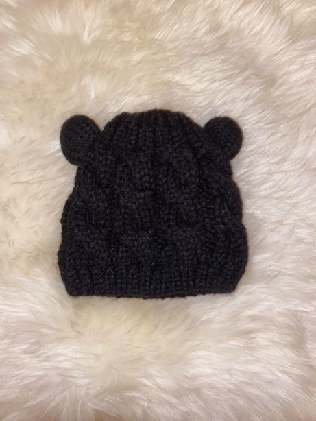 Ciepla czapka zimowa niemowlęca z uszkami splot nowa