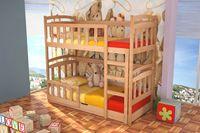Drewniane łóżko piętrowe Mati z materacami!