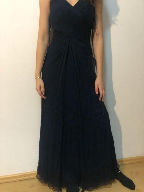 Granatowa długa sukienka
