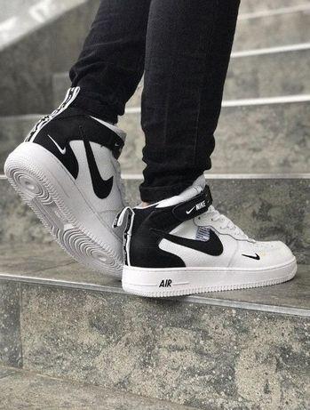 Кроссовки Демисезонные Nike Air Force Hight БЕЛЫЕ и ЧЕРНЫЕ 41-46р