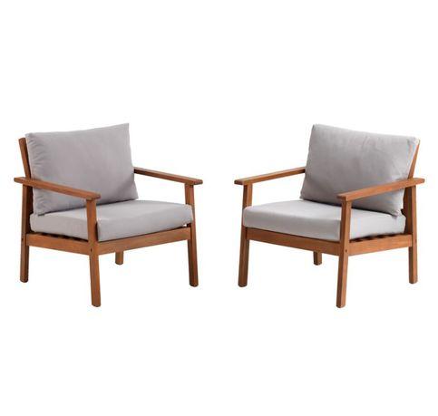 Fotele meble ogrodowe krzesła Jysk dwie sztuki eukaliptus