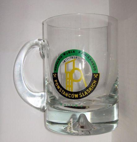Kolekcjonerski szklany kufel do piwa z bardzo grubym dnem z 1975 r.