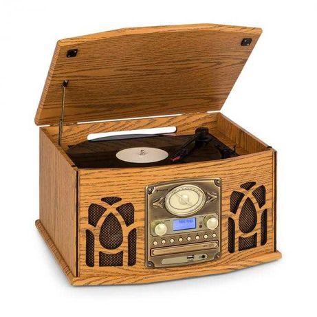 Gramofon wieża stereo DAB+ CD Bluetooth kaseta