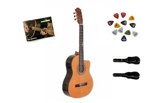 Elektro-klasyczna Gitara Walnut CEQ 4/4 Deluxe Pokrowiec+WysyłkaGRATIS