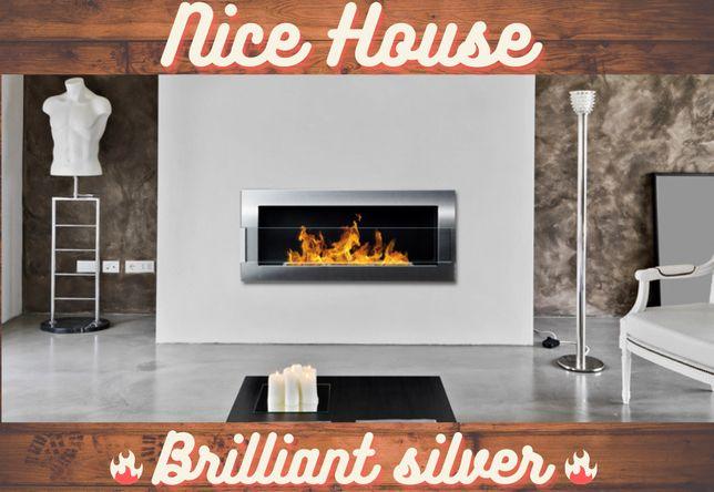 Біокамін Nice House Сріблястий 90х40х12см ЗІ СКЛОМ/БЕЗ СКЛА