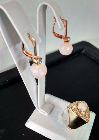 Серьги, кольцо, подвес с натуральным розовым кварцем