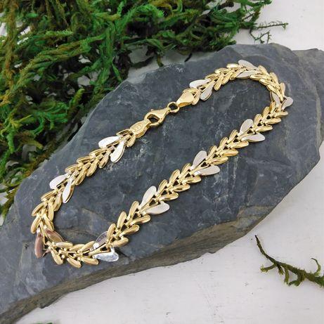 Złota bransoletka, kłos,  złoto 585