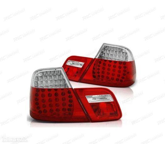 FAROLINS TRASEIROS LED BMW E46 98-01 VERMELHO BRANCO
