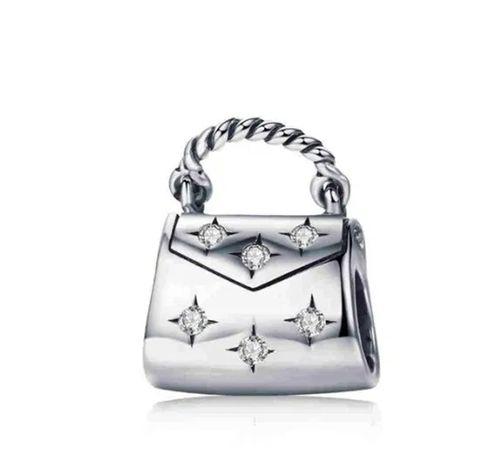 Charms PANDORA srebro 925 kobieca torebka cyrkonie