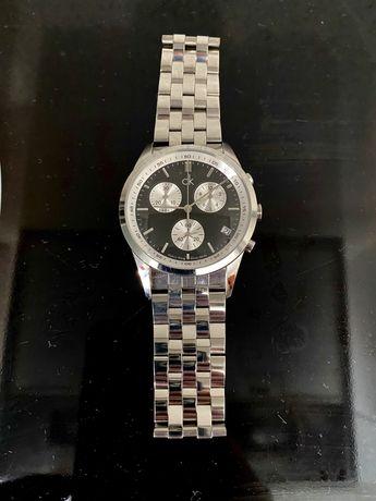 Relógio Calvin Klein Cronografo Original Preto Branco Pérola Aço Lux