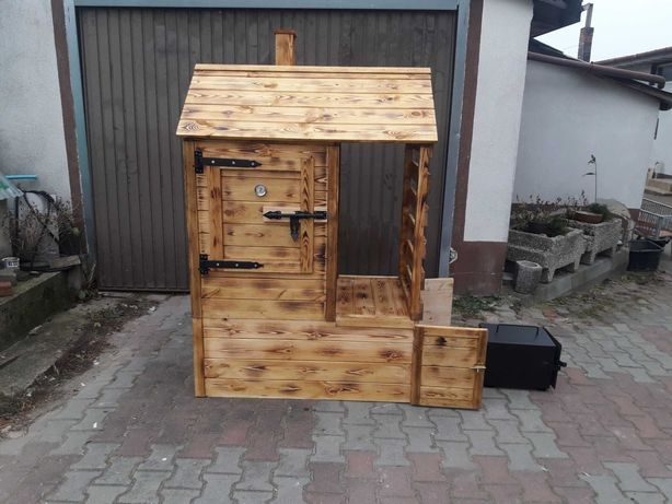 Wedzarnia drewniana z drewutną Wedzarka kompletna Duża