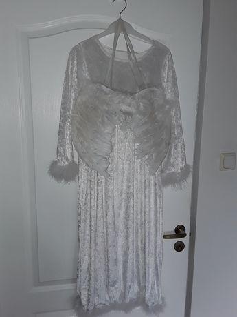 Strój aniołka - suknia , skrzydła pióra naturalne   balik jasełka
