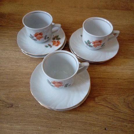 Porcelana 3 szt filiżanek 6 szt spodeczkow