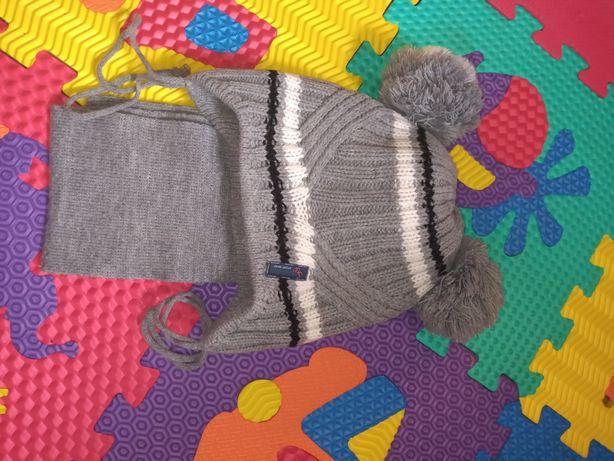 Шапка+шарф комплект зимний мальчику 1-2 года