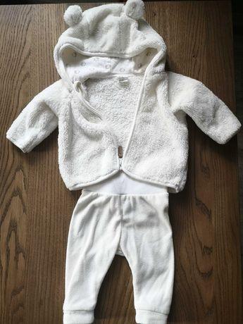 Pluszowy polarowy zestaw 2-częściowy rozmiar 62 H&M bluza i spodnie