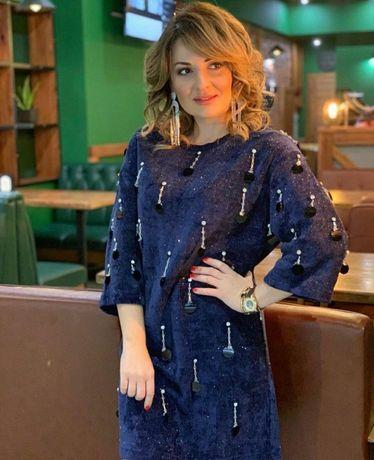 Шикарное платье из микровельвета нарядное