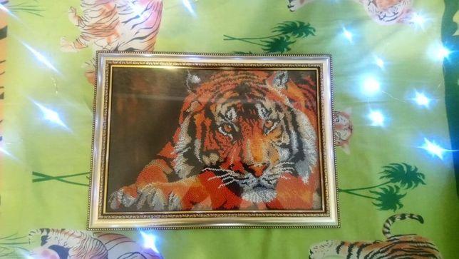 Картина вышита бисером Тигр в рамке, круговая вышивка ручная работа.