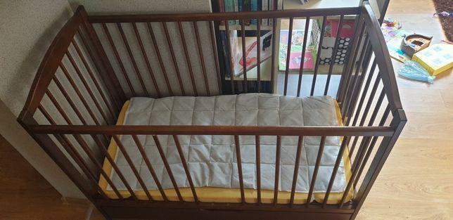 Łóżeczko dla noworodka niemowlaka dziecka drewniane 125x90 +gratis