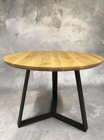 Stół okrągły dębowy lite drewno stal dąb loft skandynawski