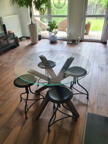 Stół okrągły szklany blat fi 100 cm drewniane nogi