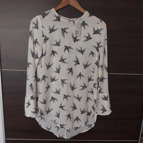 Nowa biała z metką bluzka tunika koszula h& m w jaskółki.