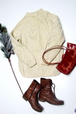 sweter hand made warkocze s m l xl wełna jesień zima retro vintage