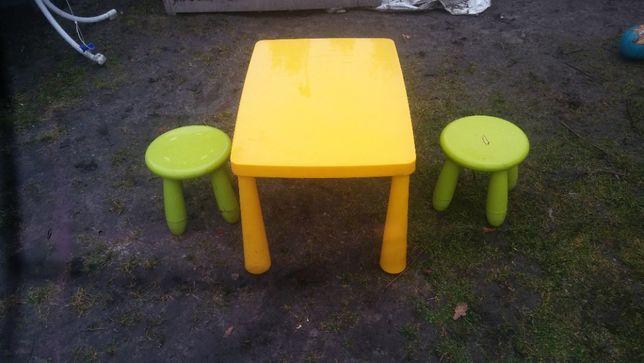 stolik i dwa taboreciki mamut