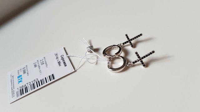 серьги с цирконами крест/крестики родированные цвет черный
