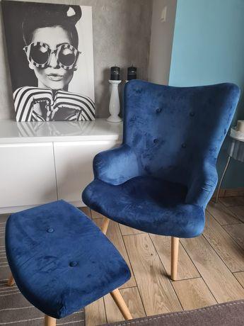 Fotel z podnóżkiem, niebieski