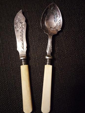 Антикварні посріблені ложка, ніж (Англія)