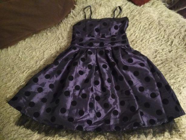 Sukienka cekiny, tiul fiolet oberżyna 146 KoppAhl