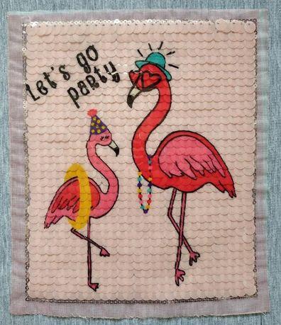 Аппликация паетки Фламинго