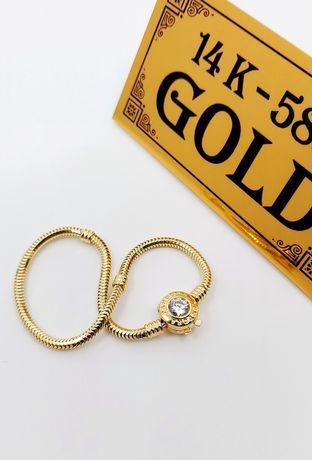 Złota bransoletka próba 585 Długość 17.2 cm waga 7.6 gr