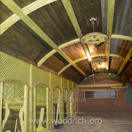 Беседка, альтанка, пергола, деревянный дом, внутренняя отделка деревом