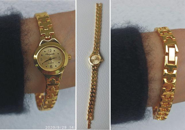 Nowy damski mały zegarek -złota tarcza i bransoleta